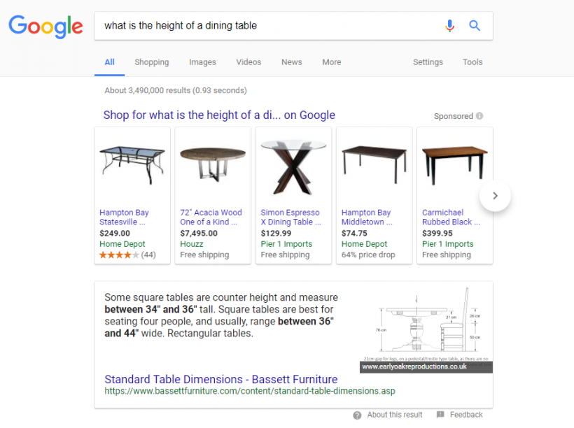 What is the height of a dining table